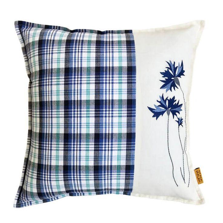 Floral Checks Cushion Cover
