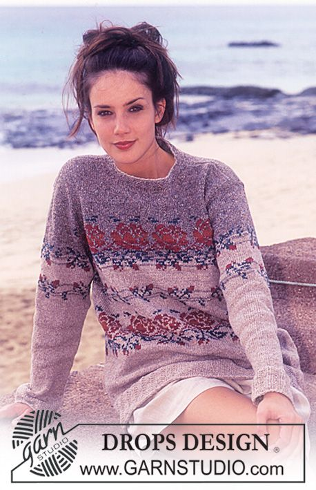 DROPS Sweater with roses in Silke-Tweed. ~ DROPS Design