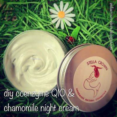 Stella Crown Natural Cosmetics: diy coenzyme Q10 & chamomile night cream  #diycosmetics #diyideas #facialcream #nightcream #nightrepair #coenzymeQ10 #q10 #organic #handmade #antiaging #lifteffect #firming #moisturizing #noparabens #chemicalfree #greekproduct #naturalbeauty #anaplasis #beauty_elixirs #recipeshare #recipeideas #beautyblog #recipeblog #followme #natural_cosmetics #φυσικά_καλλυντικά #stella_crown