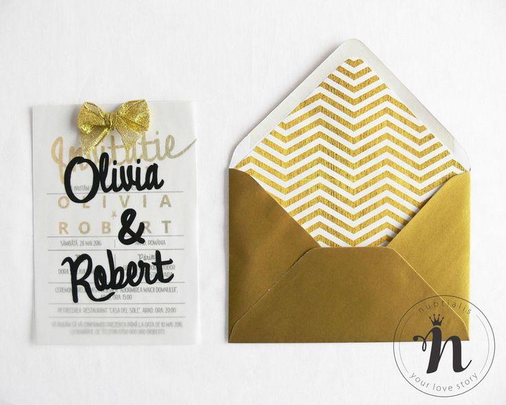 """Invitatii nunta moderne, cu auriu si plic cu interior colorat – """"ROBERTA"""""""