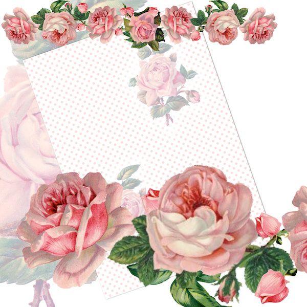 FREE printable vintage rose paper + digital rose border