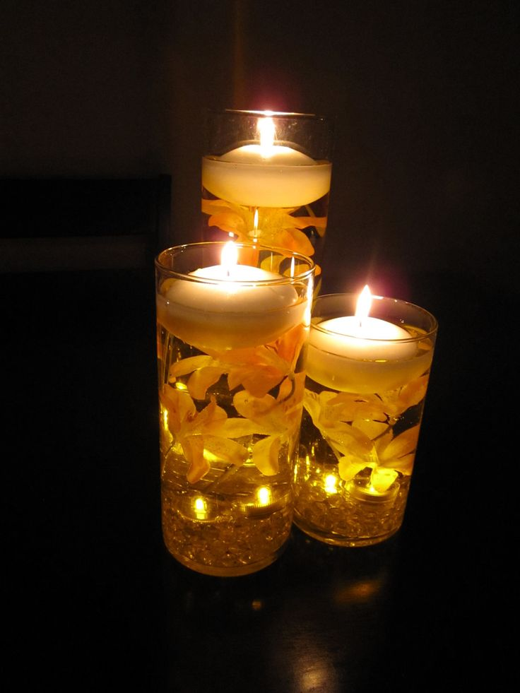 Floating candle wedding centerpiece kit orange lilies led for Candle centrepiece