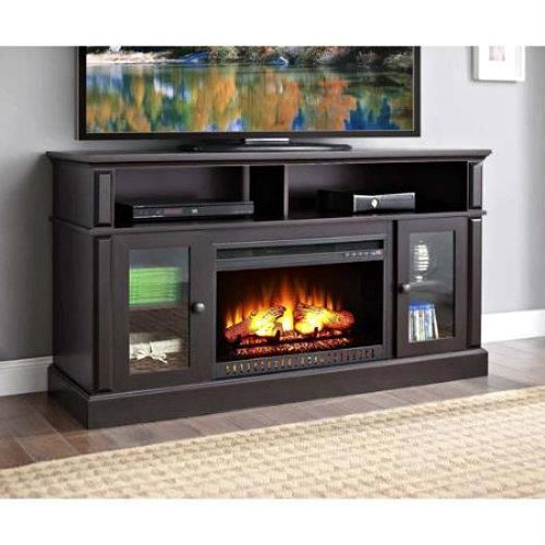 TV Stand Electric Fireplace Media Center Entertainment Console Espresso Cabinet