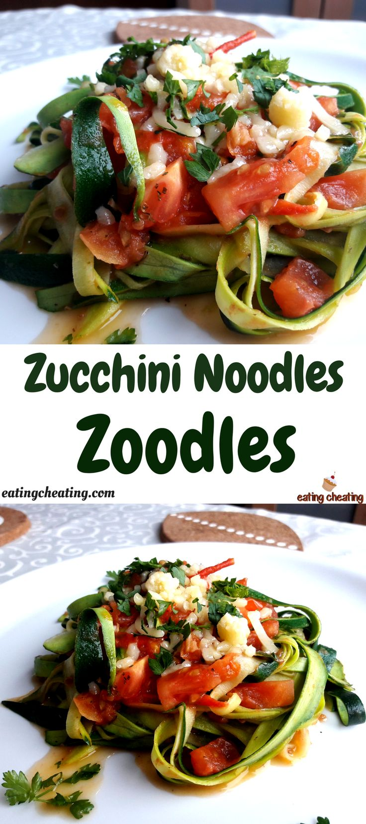 For this post I prepared interesting and good looking zucchini noodles. They are also called zoodles. I served the zucchini noodles with fresh tomatoes and made fresh tomato sauce. This recipe for zoodles with tomato sauce is great for one healthy meal. It can be served like a side dish and it is great for Christmas time!