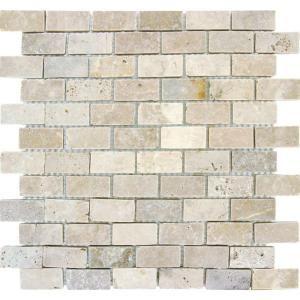 MS International Chiaro Brick 12 in. x 12 in. x 10 mm Tumbled Travertine  Mesh-Mounted Mosaic Tile
