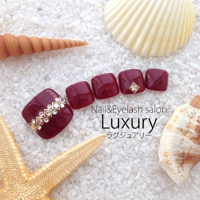 ネイル 画像 Nail&Eyelash Salon Luxury 横浜 1671961 赤 ワンカラー オールシーズン デート パーティー 夏 フット