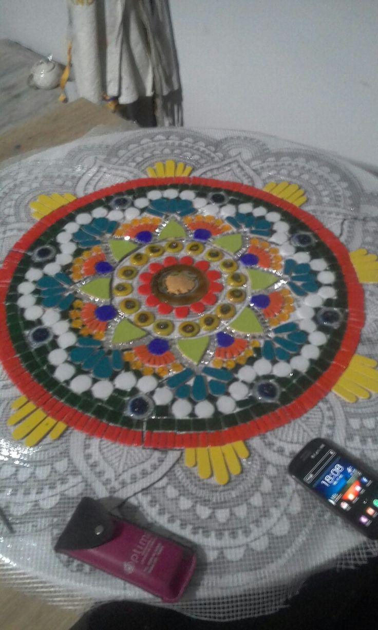 Mandala mural en proceso.....hermoso