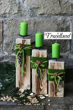 Holz Säule Kerzenständer Rustical Landhaus Kerze Dekoration Wohnen Deko Edelro