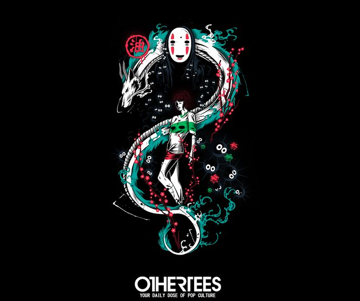 """SPIRITED GRAFFITI"" T-shirts, Tank Tops, V-necks, Sweatshirts and Hoodies are on sale until December 7th at www.OtherTees.com #tshirt #othertees #clothes #popculture #anime #spiritedaway #studioghibli #ghibli #miyazaki #hayaomiyazaki #noface"