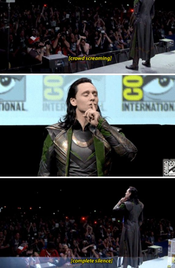 Real power.  (Tom Hiddleston in character - and costume - controlling the Hall H crowd at San Diego Comic Con 2013.)