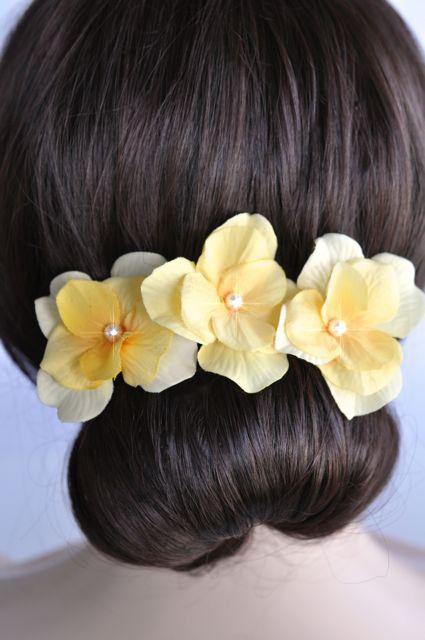 Set of 3 Handmade Yellow Hydrangea Hair or Bobby Pins (Pearl-397-U)