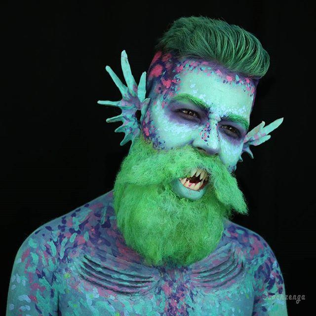Mr. Merman ⬜⬜⬜⬜⬜⬜⬜ Hey guys here is my entry into the #200kseasirenslay for the #merbae @luvekat I hope you guys like my #merman interpretation of a #siren. Also I officially hate #crepehair. From my beard to yours ❤-Zach⬜⬜⬜⬜⬜⬜⬜ #mermaidmakeup#mermaid#sirenmakeup#siren#spfx#halloweenmakeup#poseidon#hipsterbeard#hipster#furlesscosmetics#prosthetics#fish#mermanmakeup#sea#seamakeup#merman#ocean#fishy#findingdory#slay