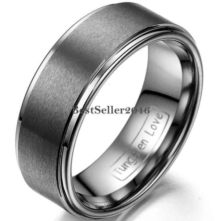 Herren Wolframcarbid Ring Ehering Partnerring, hochglanz & matt, 8mm breit