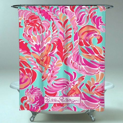 Lilly Pulitzer Love Birds Spring Meilleur nouveau rideau de douche imperméable Bautiful   – Shower Curtain Sale