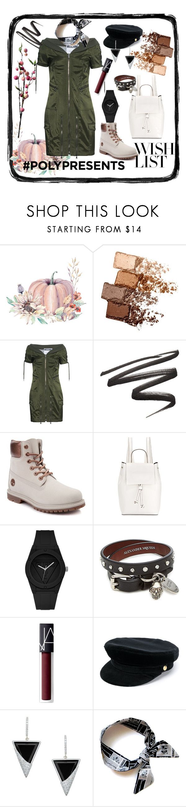 """""""#PolyPresents: Wish List"""" by shxfire ❤ liked on Polyvore featuring Maybelline, Moschino, Timberland, French Connection, GUESS, Alexander McQueen, NARS Cosmetics, Manokhi, Lana Jewelry and Wyld Home"""