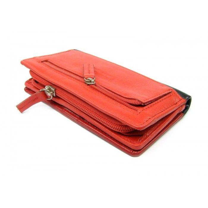 Světle červená dámská peněženka kožená - peněženky AHAL