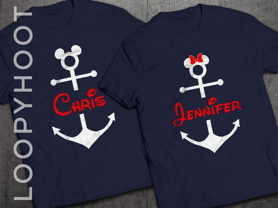 Disney Cruise Shirts Personalized Mouse Anchor for Family Vacation in NAVY BLUE
