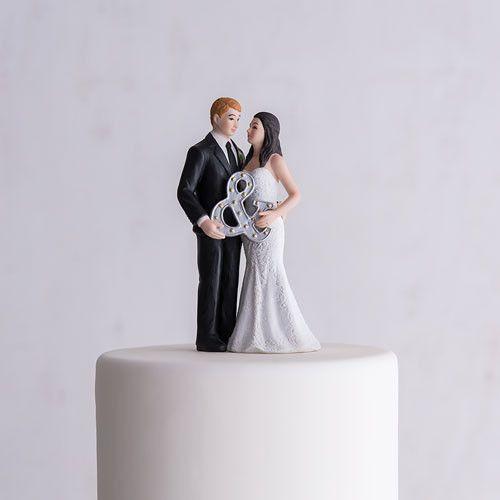Mr. & Mrs. Porcelain Figurine Wedding Cake Toper With Ampersand
