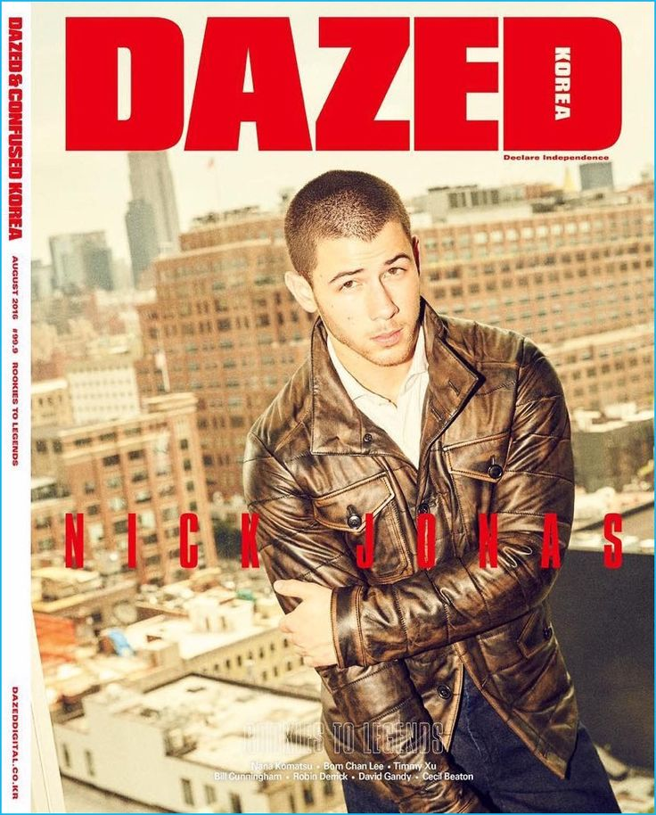 Nick Jonas rocks a brown leather jacket for the August 2016 cover of Dazed…
