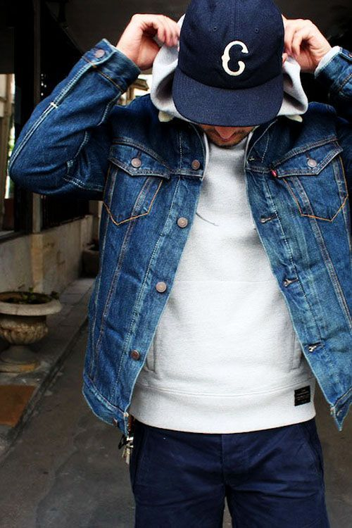 denim on denim menswear street style