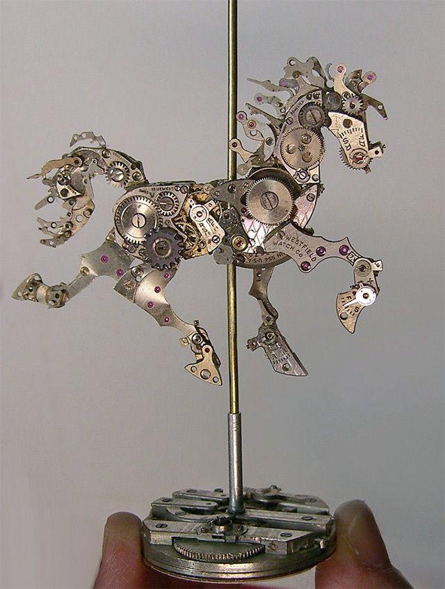 Using the smallest components from repurposed antique pocket watches and other time pieces, New-Jersey based artist Sue Beatrice of All Natural Arts assembles curious sculptures of animals and human figures.