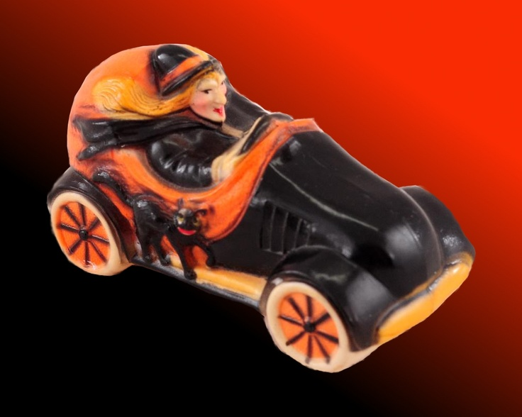 Vintage Halloween Collectible ~ Celluloid Witch Driving a Car w/ Black Cat: Witch Driving, Driving Witch, Black Cats, Celluloid Witch