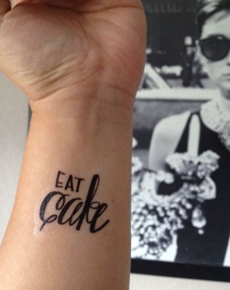 Temporary Handwritten Eat Cake Tattoo by nguyenpaperco on Etsy, $5.00