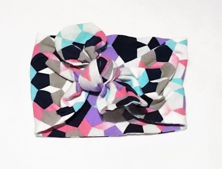 Pretty Geometric Print Newborn Size Knit Fabric Knot Bow Headband- Turban Style by TheCraftyMonkeyAU on Etsy