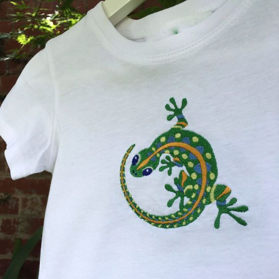 Gecko t-shirt cute animal t-shirt boys by Pobblebonksdesigns