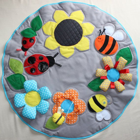 Great baby Play-Mat - Busy blanket - Baby activity playmat - Bugs and flowers baby mat on Etsy, $256.41