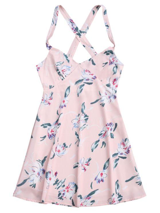 Floral Backless Summer Dress - LIGHT PINK S