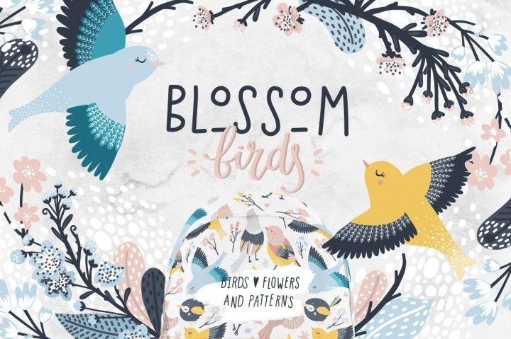 Ad: The Blossom Birds graphics collection features 53 graphics including birds, feathers, branches, flowers, and phrases. The set also includes 5 seamless patterns that are ideal for creating invitations, nursery decor, greeting cards, apparel, baby shower invitations, and more! $16