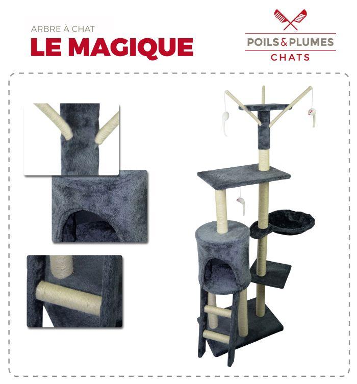 POILS & PLUMES Le Magique Arbre à chat - Griffoir - 50x35x138 cm - Achat / Vente arbre à chat Arbre à chat Hauteur 138,5 cm - Cdiscount