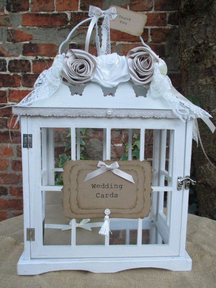 wood wedding card holders%0A Wooden painted Vintage Style Birdcage Wedding Card Holder Post Box  Decorated with handmade satin roses lace bows with a handmade wedding card  sign