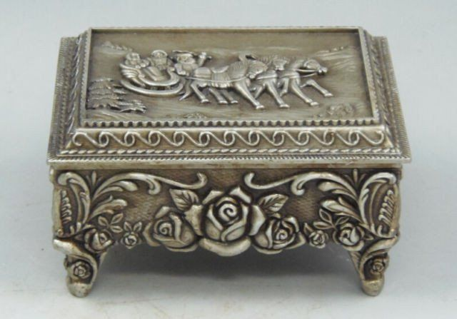 Chinese Old Miao Silver Carved Santa