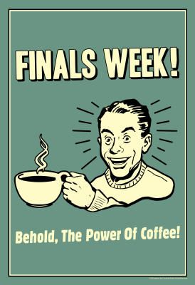 Finals Week Funny | Finals Week Behold The Power Of Coffee Funny Retro Poster - 13x19