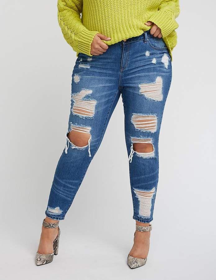 483d6b856 Charlotte Russe Plus Size Refuge Destroyed Boyfriend Jeans | Elect ...