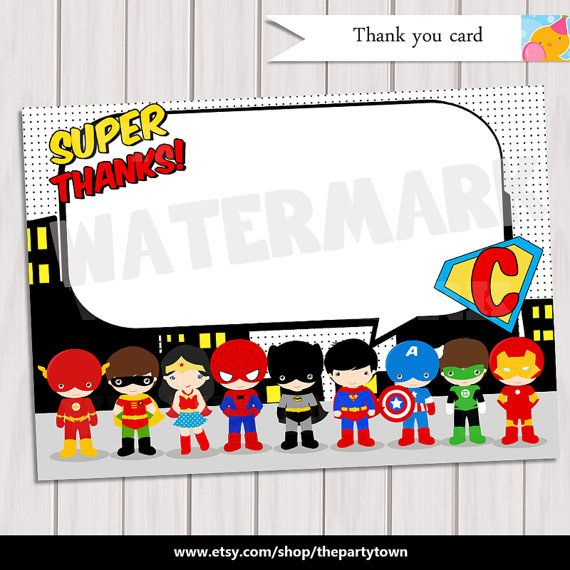 Pop Art SuperHero Thank you / Note Card Super Hero Birthday Party ...