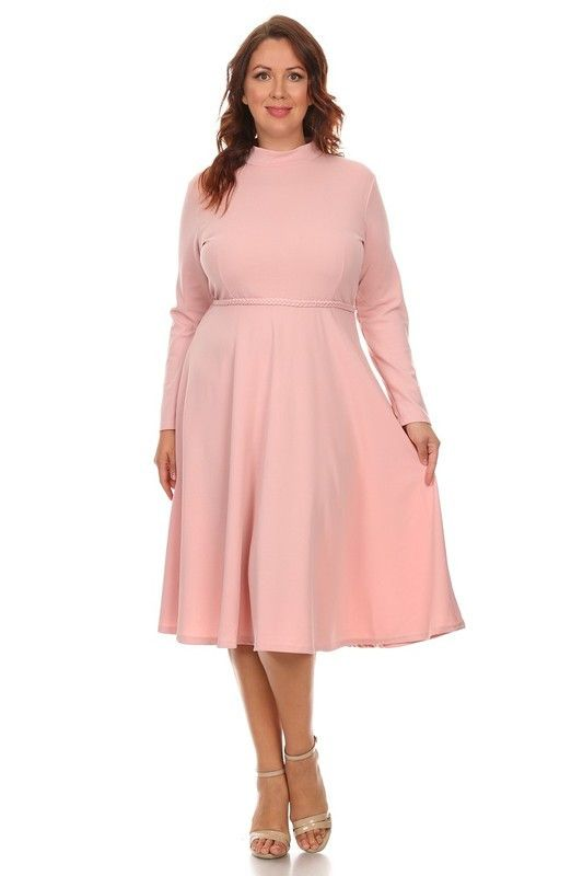 Long Sleeve Fit and Flare Plus Size Dress