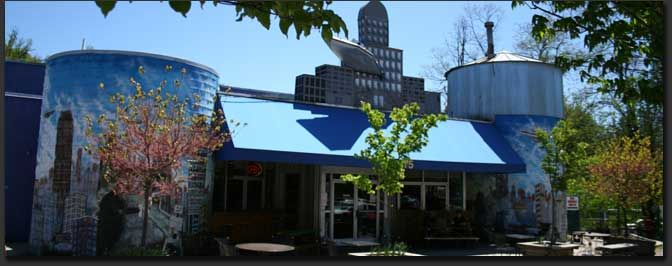 Asheville Brewing Co. - Merrimon Avenue, also known as the Brew 'n View, is home of the original 7bbl brewery and discount dine-in movie theater. Once a twin theater, it was transformed in to a full service restaurant, movie theater, micro brewery and game room.