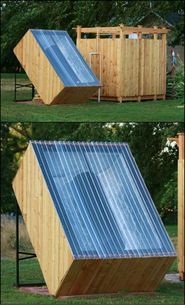how to build an outdoor shower with a solar water heater. Black Bedroom Furniture Sets. Home Design Ideas