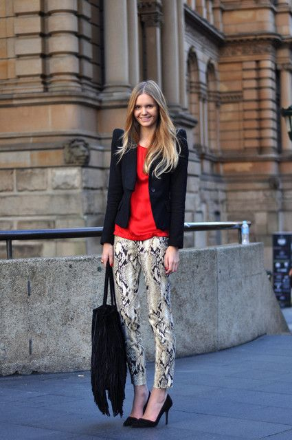 Get the look with CAbi Fall 14 Diamondback super skinny jeans, Sleeveless crossover tee in Firecracker and Absolute Blazer