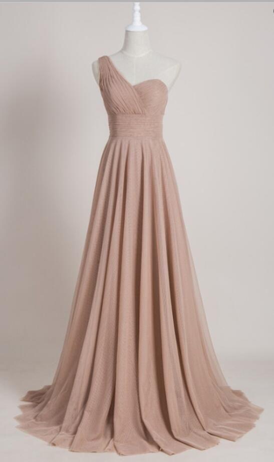 one shoulder bridesmaid dress, long bridesmaid dress, champagne bridesmaid dress, 2017 bridesmaid dress, wedding party dress