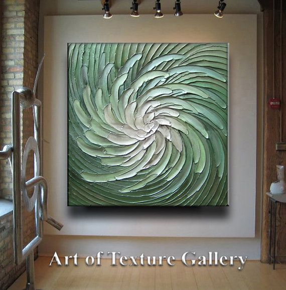 36 x 36 Large Custom Original Abstract Texture Modern Green Silver White Floral Metallic Carved Sculpture Knife Oil Painting by Je Hlobik
