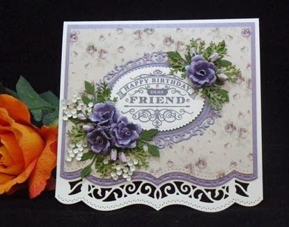 Flowers on card made using 'Sizzix Susan's Gardens Hibiscus die'