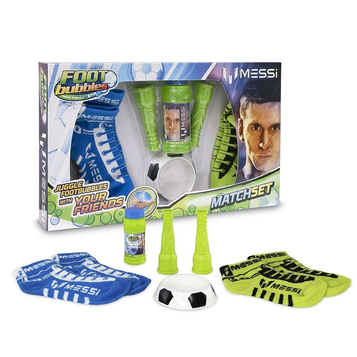 Foot Bubbles Messi - Match Pack, un set que incluye con 4 calcetines, 2 sopladores, 1 base y 1 tubo de líquido para burbujas.