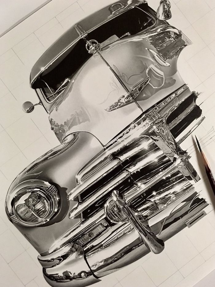 Muscle Car WIP. Dedication to Achieve Drawing Perfection. By Kohei Ohmori.