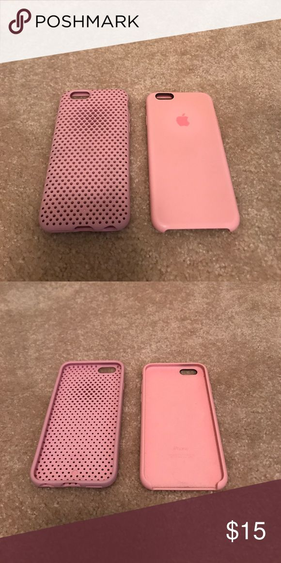 Apple IPhone 6 Pink Case & a pink mesh one pink apple case purchased from Apple Store. Pink mesh from target. Apple Accessories Phone Cases