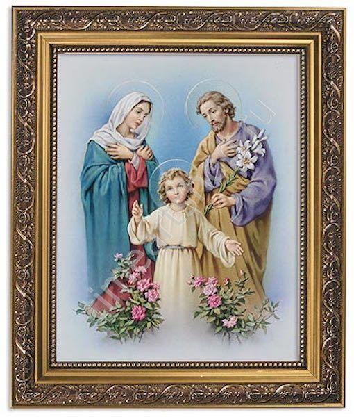 Святое Семейство, алмазная мозаика на подрамнике с имитацией багета, полная выкладка размер 40*50см