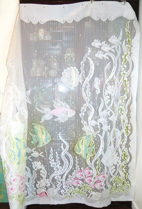 Vintage Tropical Lace Shower Curtain W Fish Amp Shells